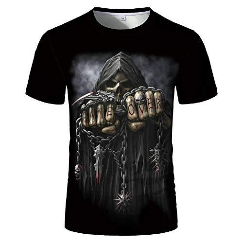 Sunofbeach Unisex 3D T-shirt grappige print casual korte mouwen T-shirts thee tops, gothic hippie kettingen schedel grappige T-shirts voor mannen vrouwen