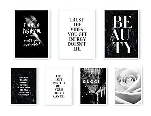 MARELLE® 7er Poster Set Fashion Queen, Wohndeko Wandbilder Schwarz Weiß, Bester Preis, A3 & A4 ca. 30x40 20x30 ohne Rahmen Nr8480