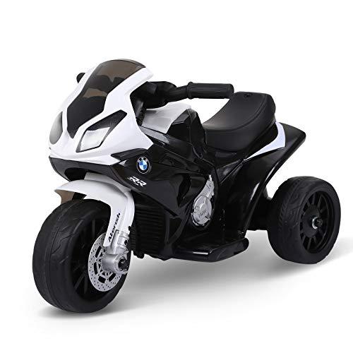 HOMCOM Moto Eléctrica Infantil con Licencia BMW S1000RR Trimoto para Niños +2 Años con Luces y Música 66x37x44 cm Negro