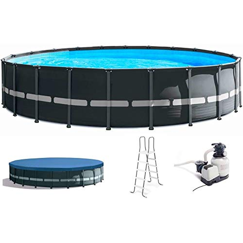 Above Ground Pool with Pump 22 Foot Galvanized Steel Frame Swimming Pool Durable Pool Liner Frame Filter Pump Ladder Cover Round Pool Heavyduty Sturdy Summer Modern Gray & eBook by NAKSHOP -  GFS