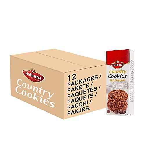 Hellema Country Cookies Rich Chocolate Keokjes – Koeken met Chocolade Stukjes – Set van 12 x 150 gram doosje