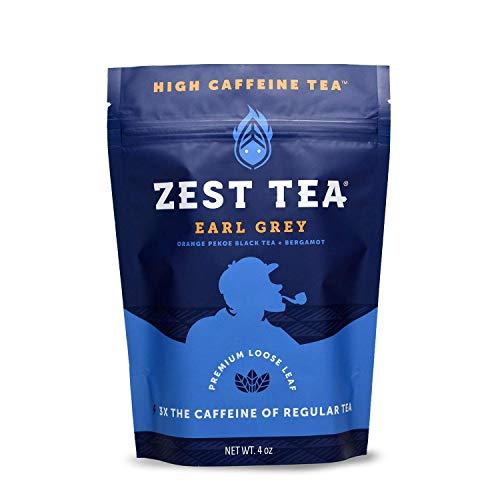 Zest Tea Premium Energy Hot Tea, High Caffeine Blend Natural & Healthy Traditional Black Coffee Substitute, Perfect for Keto, 150 mg Caffeine per Serving, Earl Grey Black Tea, 4 Oz Loose Leaf