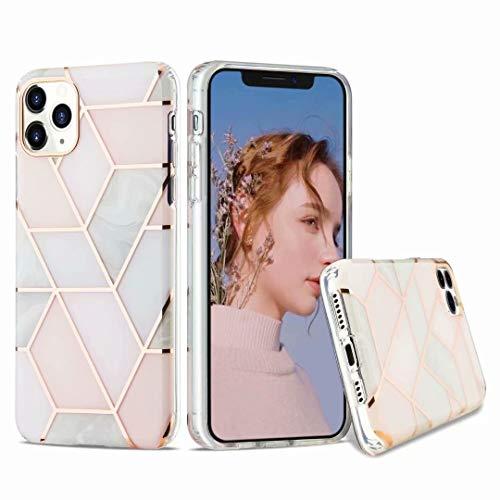 Funda para iPhone 11, suave diseño floral de mármol fino TPU absorción de golpes [protección frontal y posterior] silicona transparente transparente cubierta protectora para iPhone 11 gris