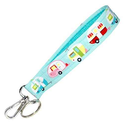 Camping Key Fob Strap - Camper Keychain - Blue Glamping Trailers - RV Accessories - 1 Inch Wide - 6 Inch Loop - Wallet or Purse Strap
