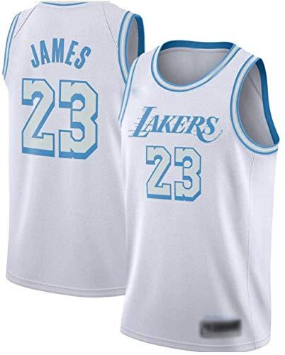 Camiseta de Baloncesto para Hombres NBA Los Angeles Lakers 23# Lebron James Cómodo/Ligero/Transpirable Malla Bordada Swing Swing Sworing Sweatshirt,L