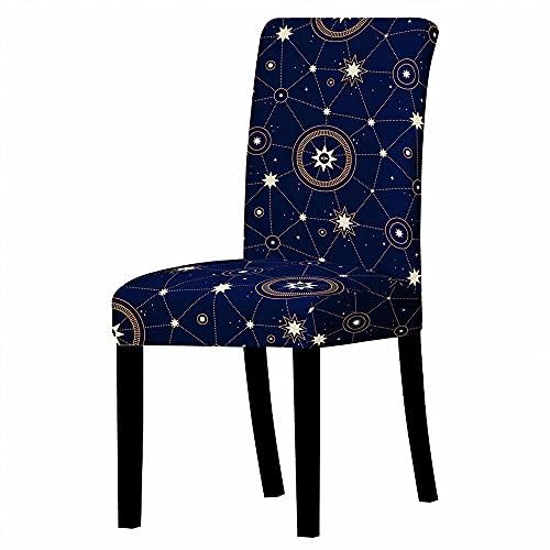 GVJKCZ Fundas para sillas,Constelación Creativa Azul marrón sillas Elásticas y Modernas Funda Asiento Silla,Extraíbles y Lavables-Decor Restaurante,2 Piezas