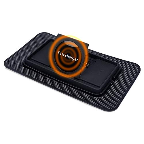 Multiple Fast Wireless Car Phone Charger 10W Qi Car Wireless Charging Pad Phone Holder Non Slip Dashboard Wireless Charging Mat for iPhone and Samsung and All Other Qi Enabled Devices