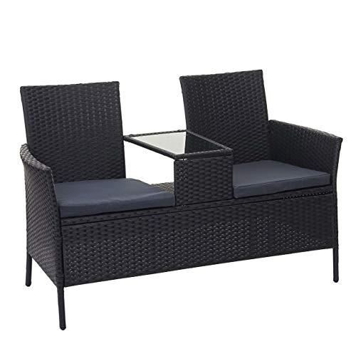 Mendler Divano Sofa per l'esterno Doppia Seduta portavivande HWC-E24 polyrattan Nero Cuscini Grigio