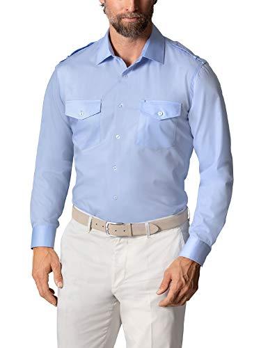 Walbusch Herren Hemd Easycare Piloten einfarbig Hellblau 43/44 - Kurzarm