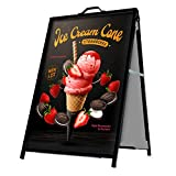 A-Frame Sidewalk Sign Board Curb Sign 24x36 inch Slide in Double Sided Display Foldable and Portable Comes with Carry Handle and 2 Plastic Boards Weather Resistant Does Not Fall with Winds Color Black