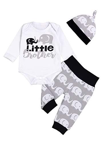 Sfuzwg Neugeborene Baby Kleidung Kleiner Bruder 3 Stück Outfits Strampler Hut Hosen Herbst Winter Elefant Drucksets