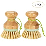 Ctcwsh 2PCS Wooden Dish Brush Scrub Brush Stiff Bristles Kitchen Cleaning Brush with Mini Round Palm Bamboo Handle Comfy Grip Washing Brushes for Pot Pan Plate Household Clearning Supplies