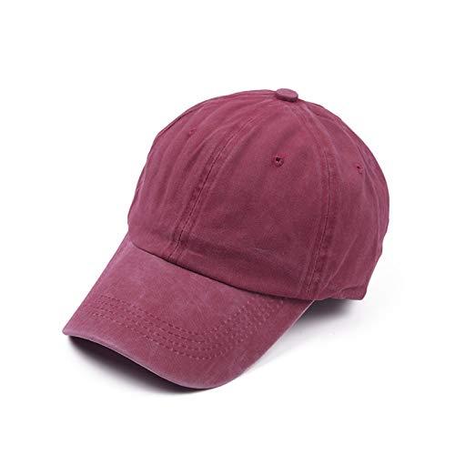 BUYYUB Gorra de béisbol de verano, 100% algodón, suave, casual, resistente al viento, protector solar, plegable, gorra de hip-hop retro (color: rojo vino)