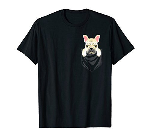 Cream French Bulldog Pocket Graphic T-Shirt Frenchie Dog Tee
