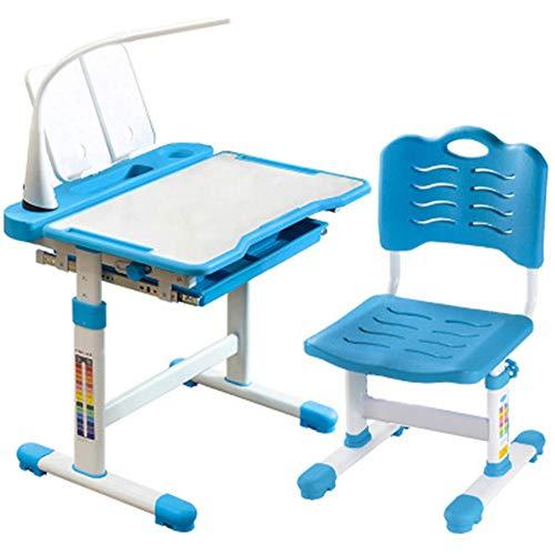 Mesas y sillas para niños Tabla Estudio de 70cm de altura ajustable for niños y Juego de sillas.Estudiante multifuncional de elevación Vector Y Silla Escritorio con lámpara Protección de los ojos Para