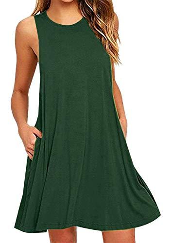 OMZIN Mujer Vestidos Todos los días Cuello Redondo Vestido de Verano Corte Ajustado Vestido Informal Verde XXL Especial