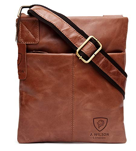 100% Pure Genuine Real Vintage Crunch Leather Handmade Mens Leather Everyday Crossover Shoulder Work iPad Messenger Bag (Distressed Brown)