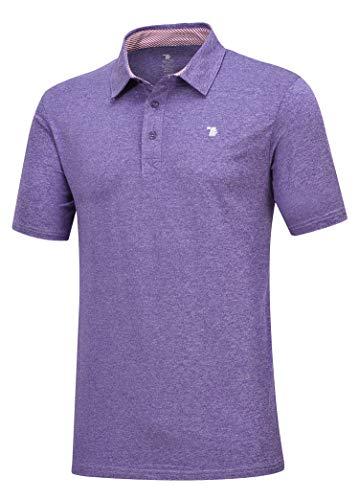 YSENTO Herren Poloshirt Casual Polohemd Regular Fit Basic Freizeit Einfarbig Kurzarm Tshirt Tops für Sport(Lila,XL)