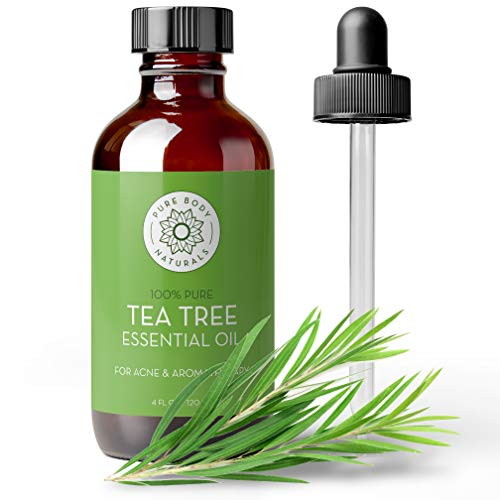 Tea Tree Essential Oil, 4 Fl Oz with dropper - Undiluted Therapeutic Grade for Your Face, Skin, Hair and Diffuser - 100% Pure Melaleuca Oil for Acne, Toenails, Skin Tag Removal - by Pure Body Naturals