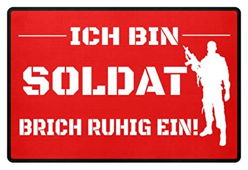 Shirtee ICH BIN SOLDAT - Felpudo rojo rubí 60x40cm
