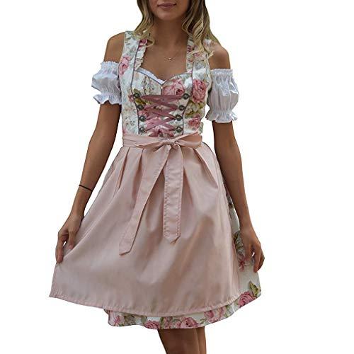 Oktoberfest Kostüm für Damen Bierfest Bayerisches Blumendruck Zofe Abendkleid Spitzen Biermädchen Schulterfrei Taverne Bar Dress Traditionelles Midikleid Karneval Kostüm (L, Weiß)