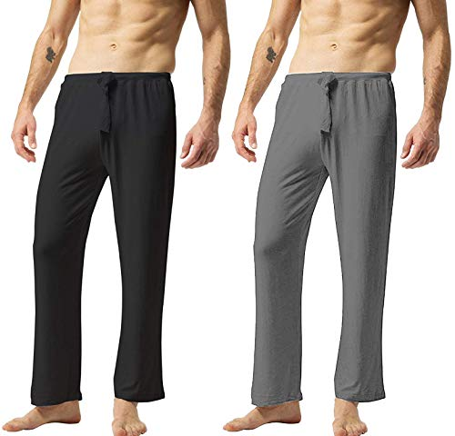 ZSHOW Pantaloni da Yoga Casual in Cotone Pantaloni Lunghi Piagiama a Casa Pantaloni da Allenamento Sportivi Pantaloni Oversize Tempo Libero Uomo Nero & Grigio L