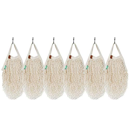 ROCKIMPACT 6-Pack Wiederverwendbare Baumwolle Netz Mesh produzieren Einkaufstaschen mit kurzen Griffen - Beige