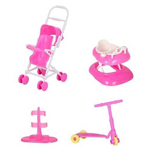 Chilits Juego de 4 piezas de accesorios para muñecas que incluyen cochecito de bebé, andador, patinete, soporte para muñecas, suministros para niñas, regalos de fiesta de cumpleaños