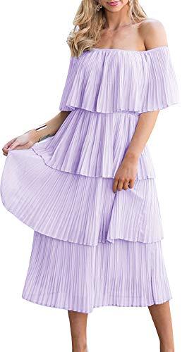 ETCYY Women's Off The Shoulder Maxi Dress Chiffon Ruffles Tiered Pleated Casual Midi Dress Purple