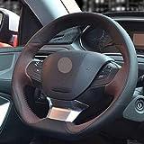 NFRADFM Coprivolante per Volante in Pelle Cucito a Mano Fai da Te, per Peugeot 208 2012-2018 2008 2013-2018 308 308sw 2014-2018