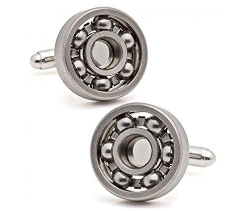 GuDeKe Tungsten Bloc Acier Roulement avec Perles Boutons de Manchette