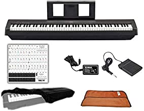 Yamaha Keyboard P45 Black 88 Weighted Keys Digital Piano Bundle with Juliet Music Piano Dust Cover, Polish Cloth and Piano Key Sticker (P45B) (P45B)