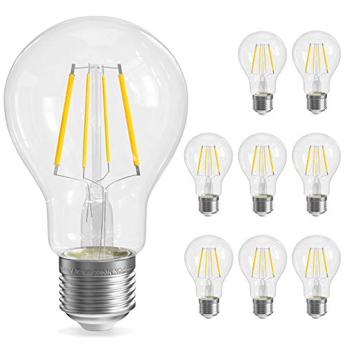 QNINE LED Filament E27, 8 Stück, ersetzt Glühbirne 40W, 5W Leuchtmittel Warmweiß(2700K), 500LM, Retro Klarglas, Nicht Dimmbar, 60mm Edison Lampen, 220-240V [Energieklasse A+]