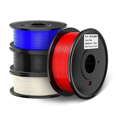 3D Printer PLA Plus(PLA+) Filament 3D Printing PLA Filament 0.25kg Spool 4 Colors Dimensional Accuracy +/- 0.02 mm (Black,White,Red,Blue)