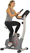 Sunny Health & Fitness Stationary Upright Exercise Bike with Performance Monitor, Tablet/iPad Device Holder, 275 LB Max User Weight with Body Fat and BMI Calculator - SF-B2952,Gray