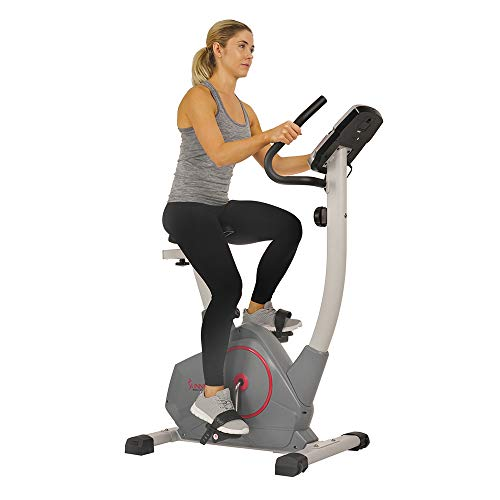 Sunny Health & Fitness Stationary Upright Exercise Bike with Performance Monitor, Tablet/iPad Device Holder, 275 LB Max User Weight with Body Fat and BMI Calculator - SF-B2952 (SF-B2952)