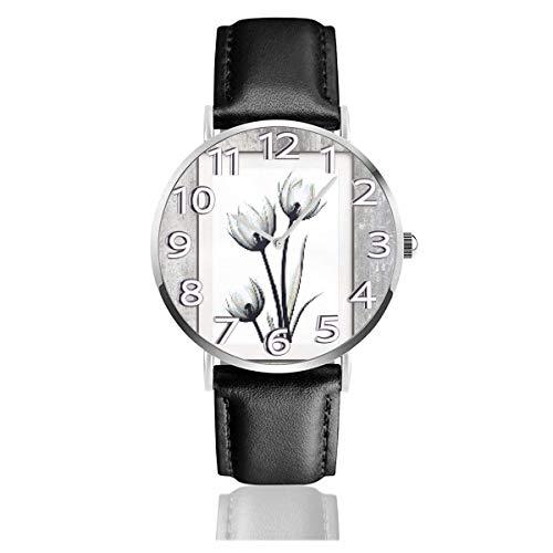 Reloj de Pulsera Flores de tulipán Floral Negro Gris Correa de Cuero sintético Duradero Relojes de Negocios de Cuarzo Reloj de Pulsera Informal Unisex