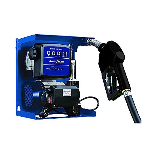 Goodyear Kit bomba trasvase autoaspirante gasoil con contador, 230V / 50 Hz, 2900 rpm, 60 l/min, cable 2m, manguera 4m,trasvase hierro fundido, pintura anticorrosión, pistola con giro de 360º
