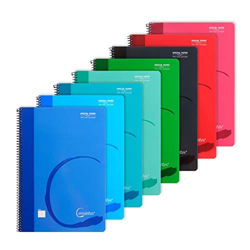 MP - Cuadernos Hojas Blancas, Tapa Blanda, Unido en Espiral, 80 Hojas Lisas, Paquete de 8 Libretas 310x215 mm