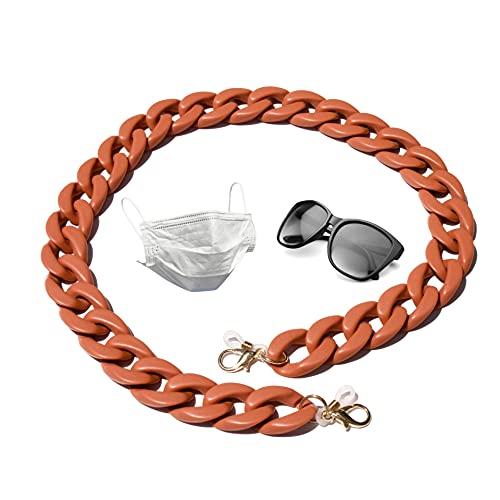 Crochet double usage pour lunettes et masque. Corde à lunettes. Cordon de serrage pour lunettes de soleil modernes. Chaîne de suspension., Terre cuite, Taille Unique