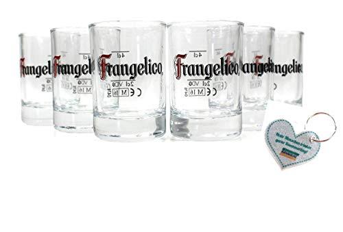 Frangelico Likör Shot Gläser 6er Set geeicht 2 cl 4 cl + Kümmerling Schlüssel-Anhänger 6g2r+