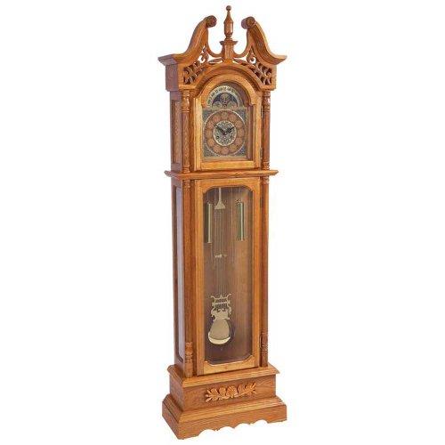 Edward Meyers Oak Grandfather clock with beveled...