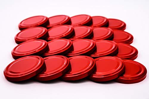 20 St. Ersatzdeckel Twist-off-Deckel 66 mm rot für Gläser zur Aufbewahrung und Bevorratung, Deckel für Einmachgläser, Marmeladengläser, Honiggläser, Feinkostgläser, Gewürzgläser TO 66