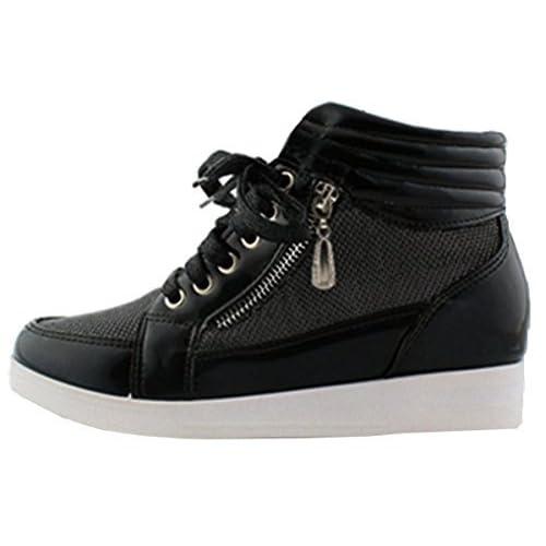 83478d0db13d SHU CRAZY Womens Ladies Shimmer Lace up Hi Top Hidden Wedge Platform Trainer  Shoes - N77