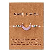 Pichidr ムーン クリスタルビーズ 天然宝石 織りブレスレット 手作りブレスレット カード付き バングル 色選択可能 1ピース ブレスレット 男性と女性 ヨガブレスレット
