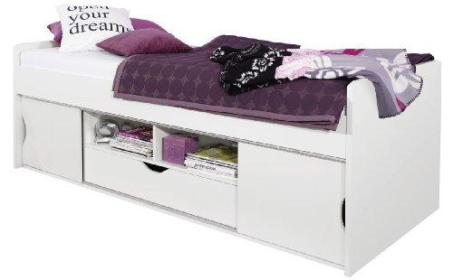Rauch Möbel Point Bett Einzelbett mit Stauraum, Weiß, Liegefläche 90x200 cm, Stellmaße BxHxT 206x72x94cm