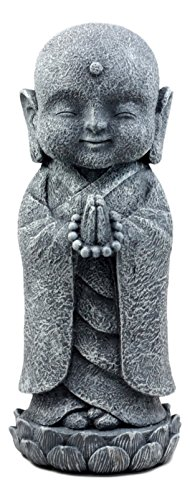 Ebros Japanese Namaste Praying Jizo Monk Standing On Lotus Flower Figurine 9.75' H Bodhisattva Buddha Kṣitigarbha Jizo Statue