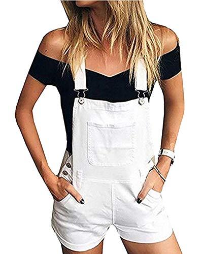 Vaqueros Mujer Pantalones Cortos De Mezclilla Mono Suelto Overoles Jeans Petos Pantalones Blanco XL