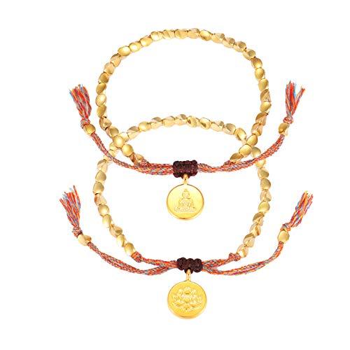 Gold Beaded Strand Bracelet String Braided Wrapped Tibetan Buddha Beads Bracelet Set for Women Girls (Tibetan beads style)