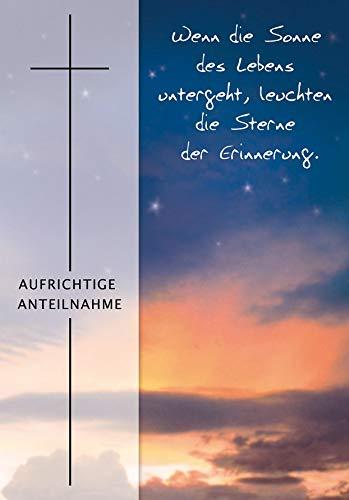 Trauerkarte Basic Classic - Himmel mit Textvorschlag - 11,6 x 16,6 cm